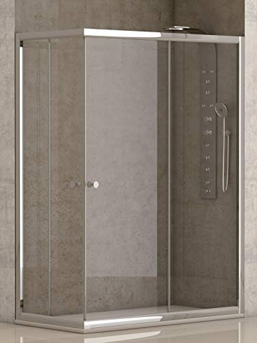 Mampara de Ducha Angular con dos Hojas Fijas y dos Correderas con Cristal Templado y Perfil Cromado Efecto Plata 70x120 (Adaptable 69-70cm a 119-120cm)