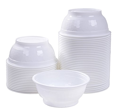 [TashiBox] Disposable plastic soup bowl - 36 oz - white - 50 count