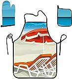 Eastlif Set da Cucina e da Forno con Grembiule per Ragazze, spogliatoio, Forno a muffola-Spiaggia Estiva