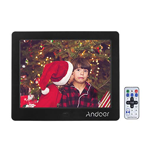 """Cornice Digitale HD Andoer, Largo Schermo ad Alta Risoluzione Digital Frame Alarm Clock MP3 MP4 Movie Player Regalo Natale (8"""" nero)"""