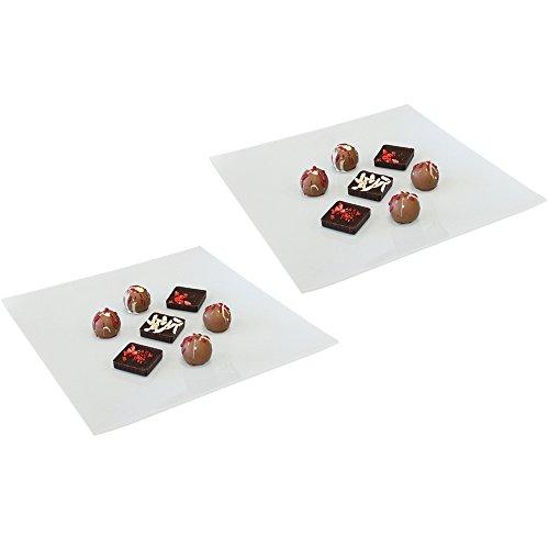 COM-FOUR® 2x Dekorative Glasschale aus weißem Glas, für Pralinen, Konfekt, Obst oder auch als Käseplatte, ca. 25 x 25 x 2 cm