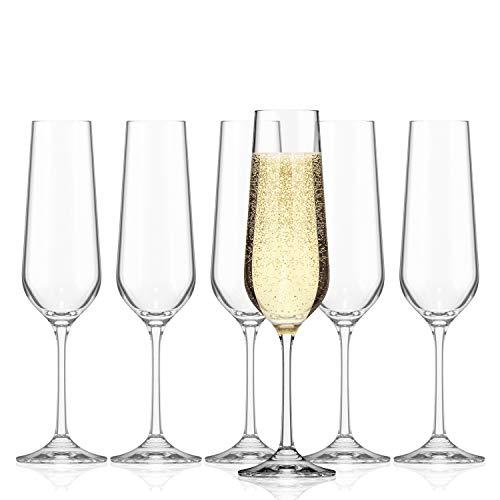 SAHM Copas de Cava | Vasos Cristal de 200ml | 6 unidades de Copas Cava | Ideal como Copas de Champagne | Copa Cava apto para el lavavajillas
