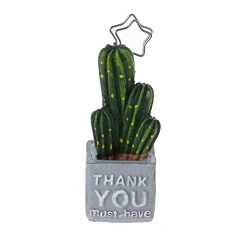 Wodwad Place Card Holder Cute Cactus Table Number Stand Picture ID Card Paper Note Memo Holder Clips Office School supplies (D)