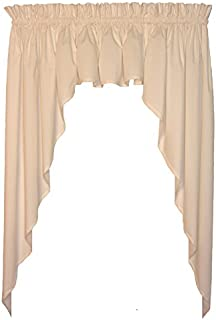 Window Toppers Martha Tailored 3 Piece Swags & Valance Curtains Set 130 Inch W by 63 Inch L, Natural - 1 1/2 Inch Rod Pocket