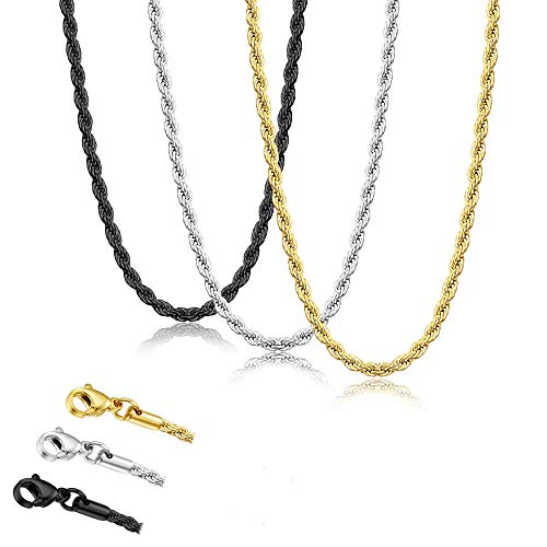 Udalyn 3 Pcs Mens Necklace Chain Stainless Steel Twist Rope Chain Necklace Set Silver Gold Black 2.5MM Rope Chain Necklace for Men Women 20 Inches