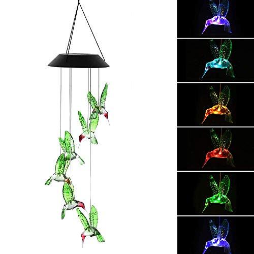 Feliciay Carillón de viento solar de colibrí, cambio de color con luz de viento de energía solar, colorido decorativo para colgar en el hogar, patio, jardín, ventana, fiesta, interior