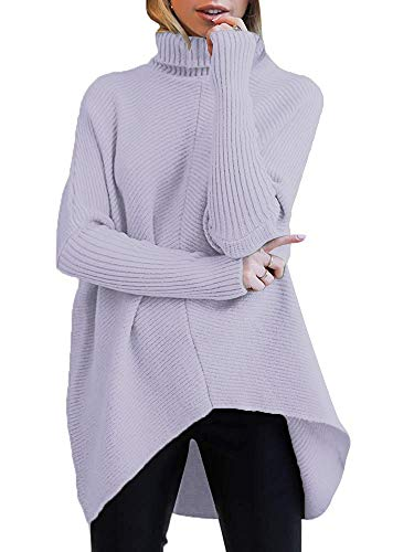 ANRABESS Womens Long Sleeve Turtle Cowl Neck Casual Knitted Pullover High-Low Hem Sweaters Fall Tops A87danzi-L Lavender