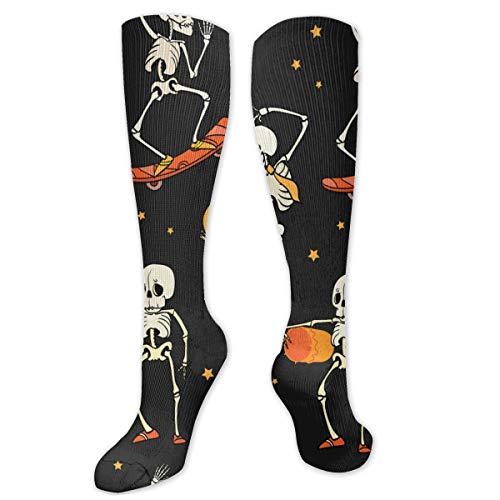 Unisex High Length Tube Socks, elastisch, comfortabel, hoge lengte, Tancing en Skateboarding Skeletons Compressie Sokken Boost Stamina, Maat 8,5 x 50 cm