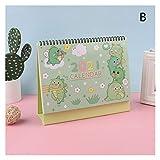 Calendario de Escritorio Creativa linda 2021 Mini escritorio calendario de escritorio Personalidad Decoración trabajo Nota Calendario Nueva programación Año del Plan Escritorio (Color : B)