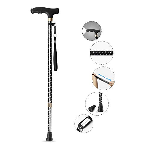 Baston para muje y hombre, OOCOME Baston anciano regulable 60-94CM Bastón de Caminar Bastónes adulto altura regulables aluminio baston con luz LED muletas bastón soporta 115kg