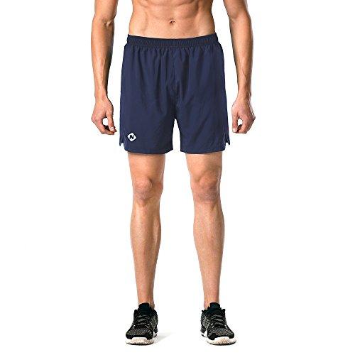 "Naviskin Men's 5"" Quick Dry Running Shorts Workout Athletic Outdoor Shorts Zip Pocket Navy Size L"