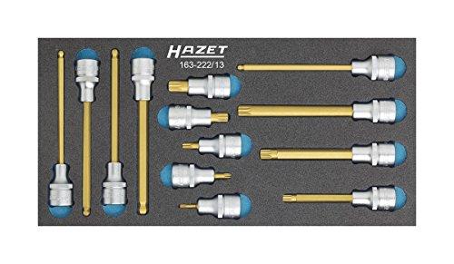 HAZET Jeu de Douilles mâles 163-222/13 ∙ Carré Creux 12,5 mm (1/2 Pouce) 6 pans, Profil Denture Multiple intérieur XZN ∙ Nombre d'outils : 13, Multicolore