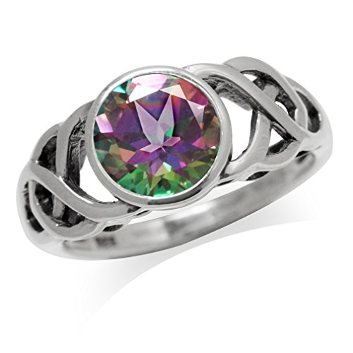 Silvershake 2.16ct. Mystic Fire Topaz 925 Sterling Silver Celtic Knot Solitaire Ring Size 8