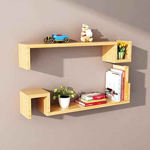 ZLP massief houten plank, bergrack, creatieve scheidingswand frame in woonkamer en slaapkamer, 4 kleuren, 80 * 15 * 15Cm Kleur hout