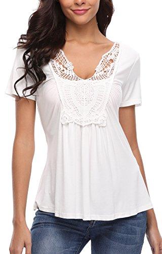 MISS MOLY Tshirt Damen Weiß Sommershirts Locker Blusen Kurzarm V Ausschnitt Spitzenbluse Small