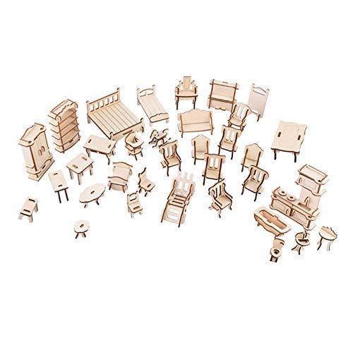 perfeclan Casa de muñecas de Madera 3D Muebles Rompecabezas DIY casa de muñecas habitación Muebles en Miniatura Juego Rompecabezas Regalo para niños
