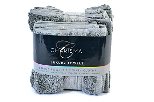 Charisma Luxury Towels Set, 2 Hand Towels and 2 Wash Cloths, Grey, 4-Pack