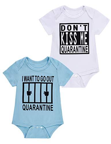 Baby Boys Girls 2 Pack Bodysuit Short Sleeve Romper Infant Quarantine Letter Printing Onesies(3-6 Months)