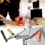 KKTECT Afilador de Cuchillo Acero Inoxidable Giratorio de 360 ° Afilador de Cuchillos multifunción Pro RX-008 de ángulo Fijo con 4 muelas Juego de Herramientas de Afilado de Cocina Profesional