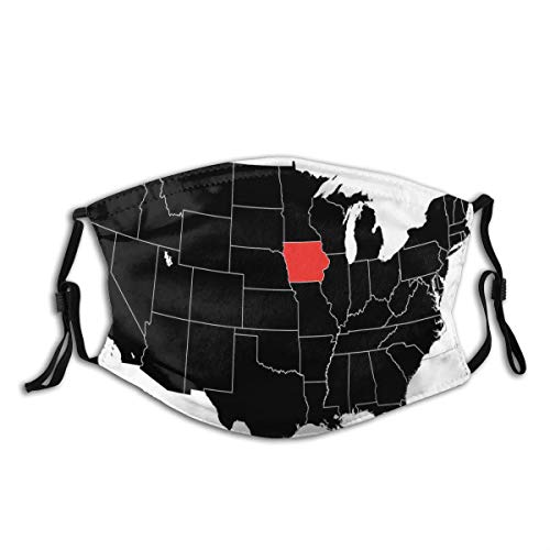 Comfortable Activated Carbon mask,North America Map Showing The Iowa State Simple Cartography Design,Printed Facial decorations for adult