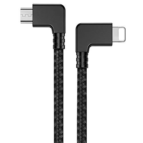 iEago RC Micro USB zu IOS Datenübertragungskabel 29 cm Nylongeflecht 90 Grad rechtwinkliges Verbindungskabel für DJI Mavic Mini/Pro/Spark/Mavic Air/Mavic 2 Pro & Zoom