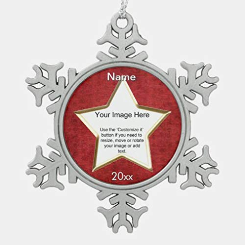 onepicebest Red Chenille Star Shape Photo Frame Template Pewter Xmas Ornament Xmas Tree Hanging Decoration, Keepsake for Family Friends, Christmas New Year Gifts, Memorial Ornament