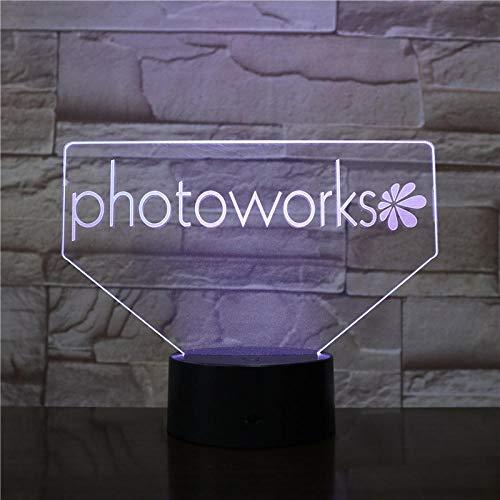 3D-nattlampor PHOTOWORKS 3D-lampa nattlampa 7 färger ändra med fjärrstyrd LED-belysning lampa lampa sovrum dekoration ljus dropshipping födelsedagspresent gåvor för barn