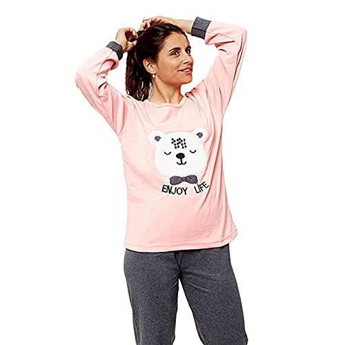 FLASHPIJAMAS Pijama Mujer Premium, Pijama Dos Piezas pantalón y Manga Larga. Ropa de Dormir de algodón. Pijama Bordado ,Modelo Enjoy Life