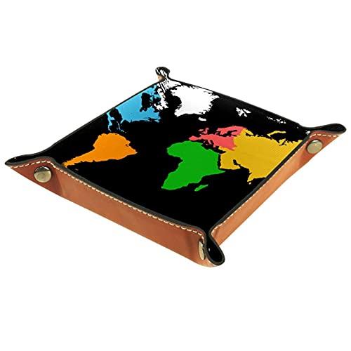 Bandeja de Juegos de Dados rodantes Plegable Bandejas de joyería cuadradas de Cuero y Reloj, Llave, Moneda, Caja de Almacenamiento de Dulces Mapa del Mundo Colorido Blackground