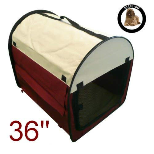 Ellie-Bo Fabric Soft Dog Puppy Cage Large 36 inch Claret and Beige Folding Crate with Fleece Liner...