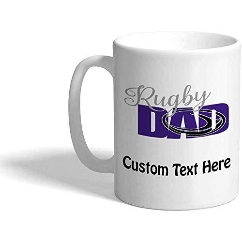 Taza de café personalizada 330 ml Papá de rugby Deportes Taza de té de cerámica Texto personalizado