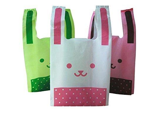 【Fuwari】 レジ袋 ポリ袋 バレンタイン かわいい ビニール袋 3色 150枚 セット うさぎ 包装 ハロウィン 業務用 お菓子袋 ラッピング (ホワイト ピンク グリーン mix)(M)