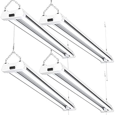 Sunco Lighting 4 Pack LED Utility Shop Light, 4 FT, Linkable Integrated Fixture, 40W=260W, 5000K Daylight, 4100 LM, Frosted Lens, Surface/Suspension Mount, Pull Chain, Garage - ETL, Energy Star