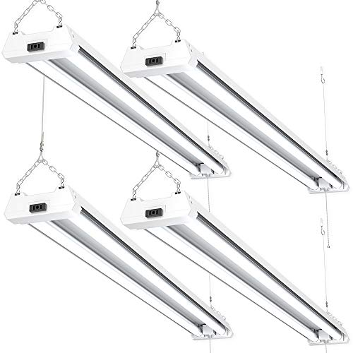 Sunco Lighting 4 Pack 4ft 48 Inch LED Utility Shop Light 40W (260W Equivalent) 5000K Kelvin Daylight, 4100 Lumens, Double Integrated Linkable Garage Ceiling Fixture, Frosted Lens - Energy Star/ETL