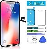HTECHY Kompatibel mit iPhone X Display OLED, 3D Touchscreen Digitizer Display, Ersatz Bildschirm Eine illustrierten Reparaturanleitung & Ersatzbildschirm Komplettes Werkzeug