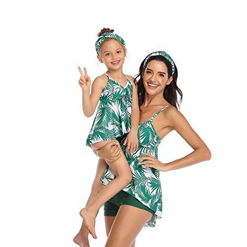 Eghunooye Damen Tankini Set Bauchweg Zweiteiliger Sportlich Badeanzug Tropischer Druck Badekleider Bademode Shorts Badeshorts (Grün Kinder, 152)
