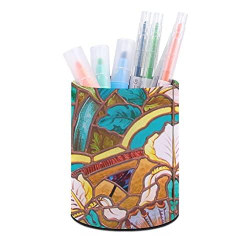 Soporte para bolígrafo, soporte para lápices, organizador de escritorio, organizador de brochas de maquillaje, para oficina, aula, hogar Art Nouveau vidrieras florales