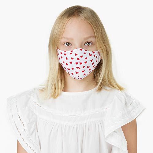 KUMUNDO - Mascarilla higiénica reutilizable certificada para 30 lavados - UNE0065 -Colección Niños de 7 a 12 años - Talla S (Estampado Corazones)