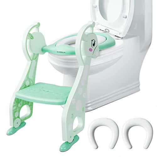 Toilettentrainer mit Treppe – Chairlin Töpfchentraining Toilettensitz WC Sitz kindertoilette, kinder toilettenstuhl, Kinder Toiletten Training für 2-7 jährige Kids, mit 2 Kissen (Minzgrün)