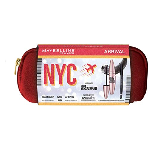 Maybelline New York Idea Regalo Donna Natale 2020, Pochette Occhi con Mascara Volumizzante Ciglia Sensazionali e Matita Occhi Line Refine Kajal 33