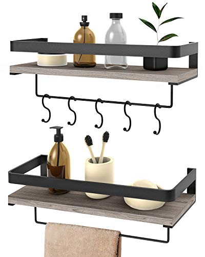 Audoc Floating Shelves Wall Mounted Shelf Rustic Wood Wall Storage Shelves with Towel Bar and 5 Removable Hooks for Bathroom Kitchen Bedroom, Set of 2