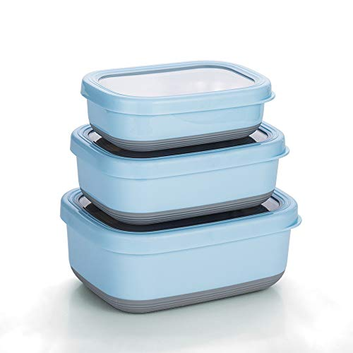Lille Home Premium Stainless Steel Food Containers/Bento Lunch Box With Anti-Slip Exterior, Set of 3, 470ML, 900ML,1.4L, Leakproof, BPA Free, Portion Control, Blue