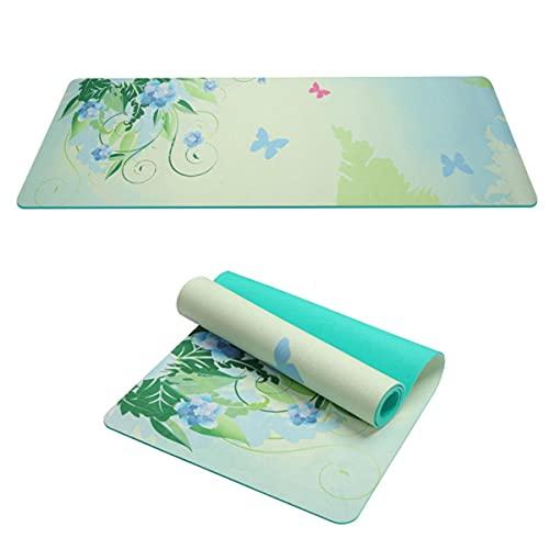 LUYOYO Esterillas de yoga con estampado de pilates de 5 mm, extra gruesas, antideslizantes, diseño de ejercicio y fitness, 61 x 183 cm (color: D)