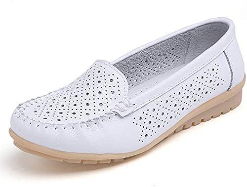 Chaussures Plates Femme,vintage Original Rond Creux Occasionnels Fermé Orteil Couture Simple Doux Confortable Cuir Naturel flaneuses En Caoutchouc Souple Chaussures Chaussures Bateau Dames Blanches