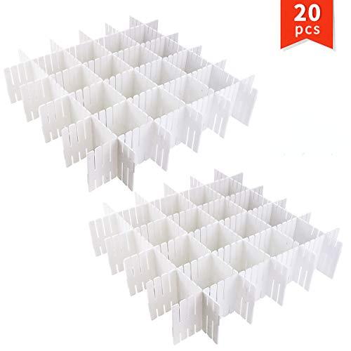 Twdrer 20 PCS Plastic Drawer Dividers Organizers,Adjustable DIY Grid Drawer Closet Separator,Household Necessities Shelves Spacer Makeup Socks Underwear Scarves Organizer(White,12.6' x 2.75')