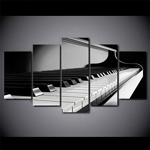 GHTAWXJ Hd Gedrukt 5 Stuk Canvas Art Piano Sleutels Schilderen Muziek Instrument Wandfoto's Voor Woonkamer