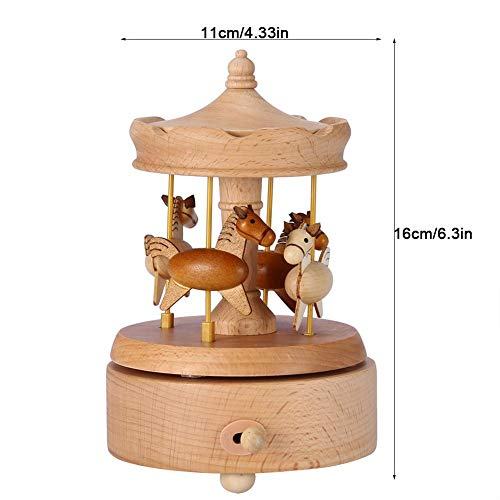 Strnek Wooden Vintage Carousel Music Box Beautiful Handmade Wood Musical Boxes Toy Crafts Birthday Home Decor