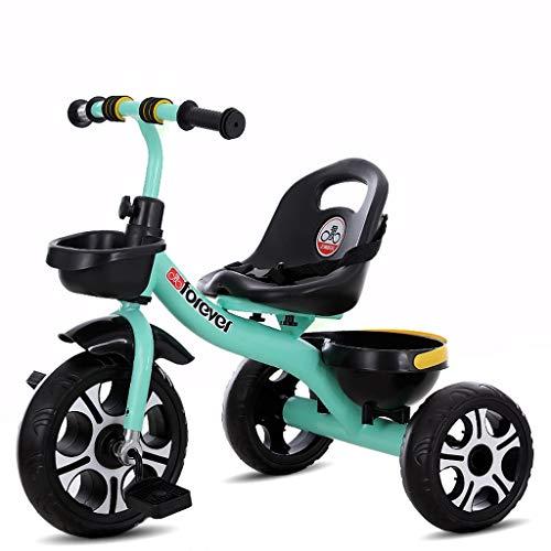 Bicicleta infantil multifunción, cochecito de bebé, regalo de cumpleaños para niños y niñas (color verde)