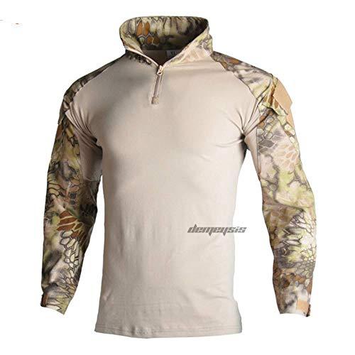 Muchen Camouflage Military Tactical Uniform Jagdhemden Hosen mit Ellbogen Knieschützer Arisoft Paintball Anzüge Kleidung Ghillie Anzüge, Highlander Hemden, XL