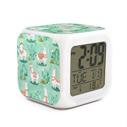 HOTMN Green Llama and Cactus Style Cute Multifunction Digital Desk Alarm Clock with LED Touch Light Desk Watch Table Clock